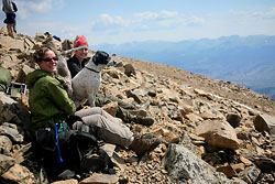 Andra, Frank and Christine relaxing at 14, 433 ft