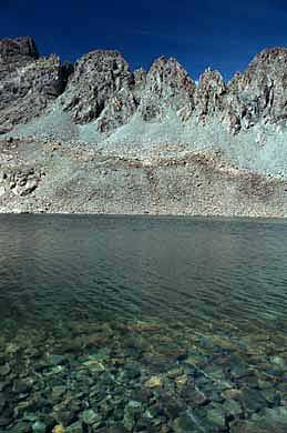 part of the Nokhu Crags across Snow Lake