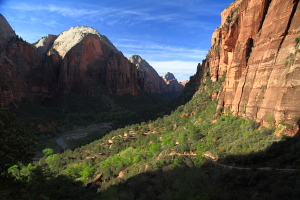 The Virgin River in Zion Canyon from Angels Landing Trail