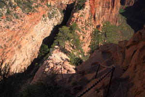 The trail down Angels Landing