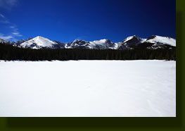 Bierstadt Lake, frozen and covered in snow