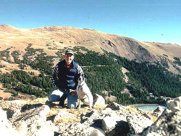 Sam and Frank above Blue Lake, Cameron Peak in the background