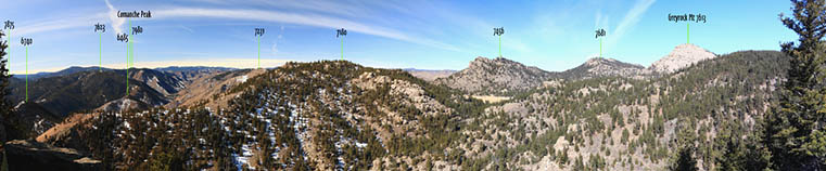 Ranked peaks in the area of Greyrock Mt in the lower Poudre Canyon