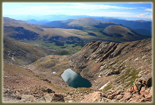 Looking down from the summit of Mt Bierstadt to Abyss Lake