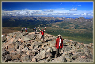 Mike celebrates the summit of Mt Bierstadt