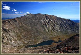View from Mt Bierstadt: Abyss Lake and Mt Evans