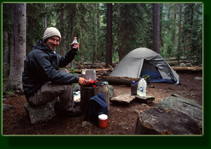 Enjoying a Coke for dinner at camp, Rocky Mountain National Park