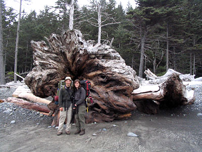 Andra and I pose next to our favorite piece of driftwood