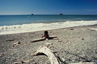 Andra rests and enjoys the crashing surf and empty sky at Rialto Beach