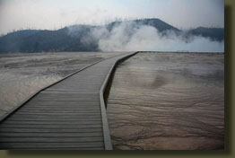 Boardwalk through lower geyser basin